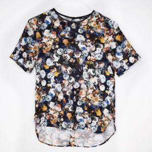 Zara Woman Hi Lo Floral Print Tee Size Small